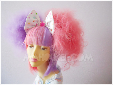 """Cotton Candy"" Two-Tone Split Lavender / Candy Pink Sweet Lolita Wig Set"