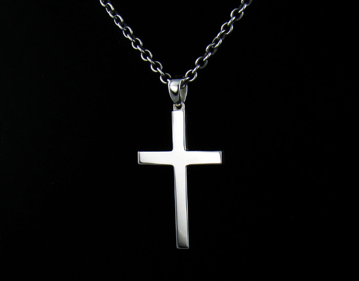 mens sterling silver 925 plain cross pendant chain. Black Bedroom Furniture Sets. Home Design Ideas