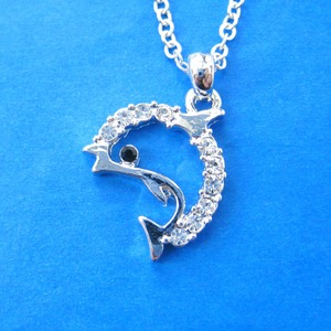 Dolphin Shaped Sea Animal Charm Necklace in Silver with Rhinestones