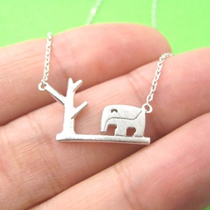 Elephant and Tree Silhouette Animal Themed Pendant Necklace in Silver