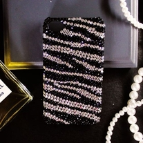 iphone 4G Design #432, Bling Crystal Black And White Strips (Zebra Pattern) iPhone 4/4S Case