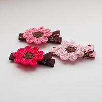 Crocheted Flower set, Pink/Brown