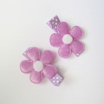 Velvet flower clip - Purple
