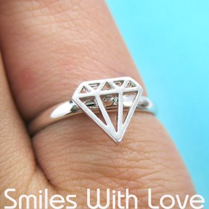 Adjustable Diamond Cut Out Ring in Silver