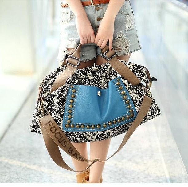 Best Trend Rivet Messenger handbag Sling Canvas Shoulder Bag ...