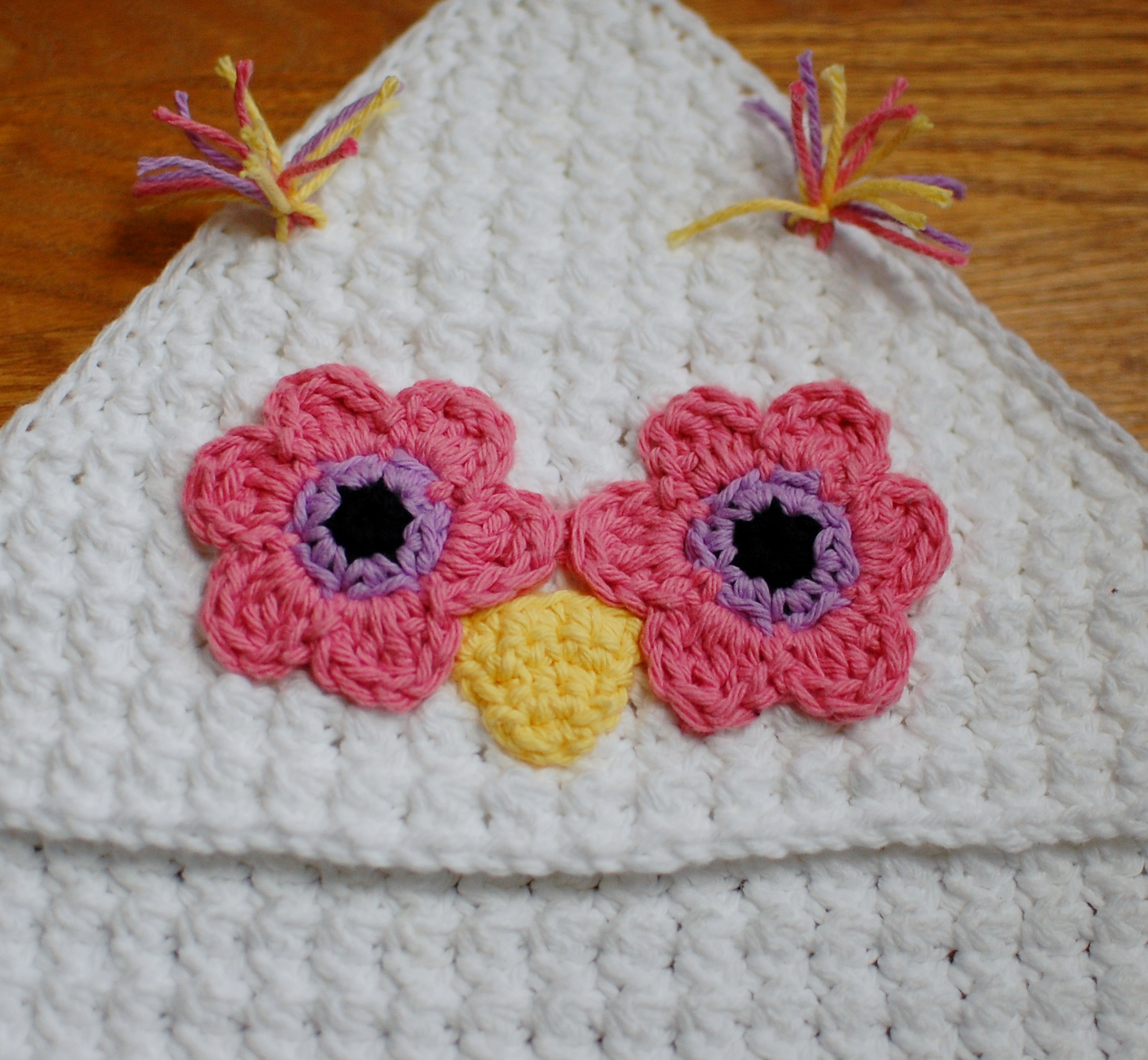 Crochet Pattern - Owl Hooded Baby Towel (also makes a ...