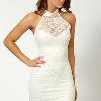 sweetheart halter lace dress