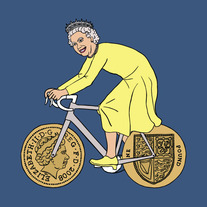 Queen Elizabeth II on bike with one pound coin wheels, 5x5 print