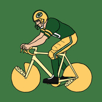 Greenbay packer riding bike with cheese wheel wheels, 5x5 print
