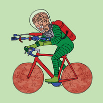Mars Attacks Alien riding bike with Mars wheels, 5x5 print