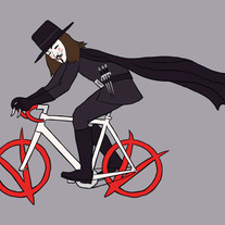 V riding bike with vendetta symbol wheels, 5x7 print