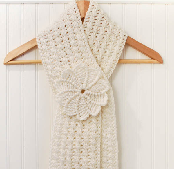 Crochet Pattern Textured Keyhole Scarf And Spiral Flower Petals