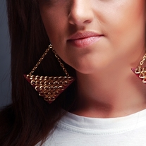 """Pyramid"" Chain  leather earrings - Gold Chain"