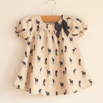 IN STOCK  READY TO SHIP Fawn Sillouette Deer Swing Top in Tan and Black Girls sz 2 to 8