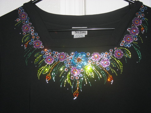 Rhinestone Neckline Multi 183 One Stop T Shirts And More