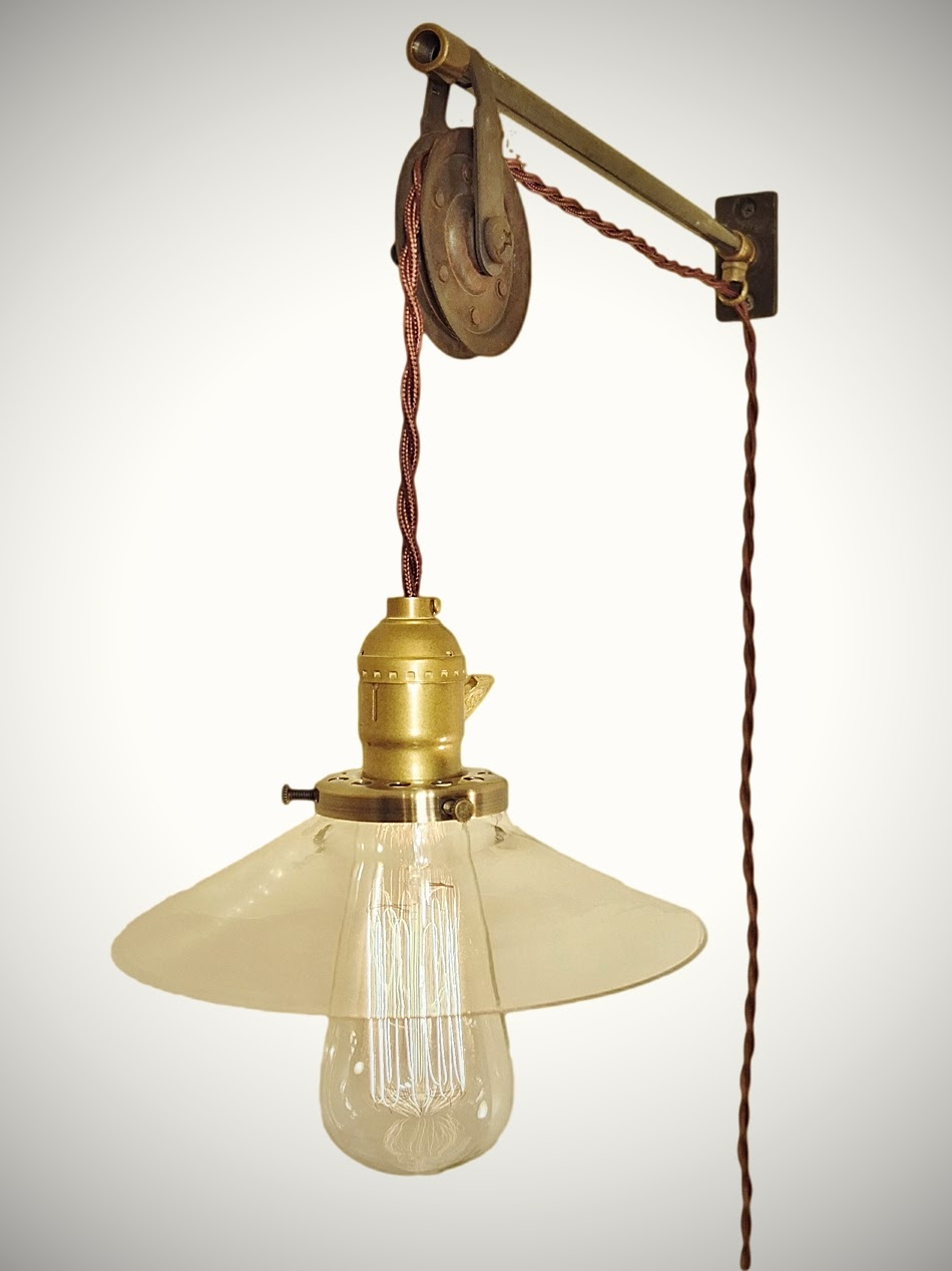 Vintage French Industrial Pulley Lamp W Glass Shade