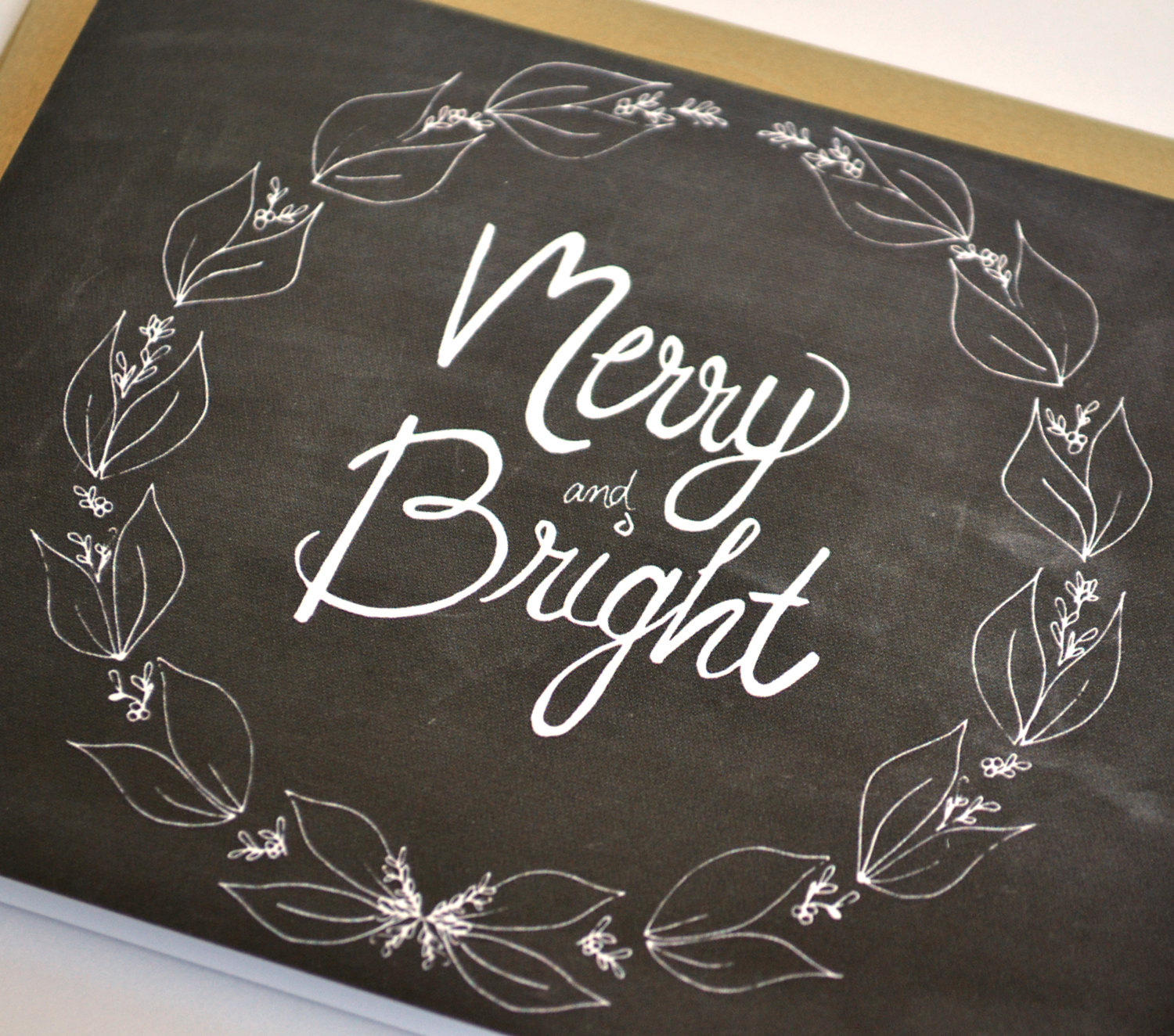 merry and bright holiday card hand lettered christmas chalkboard