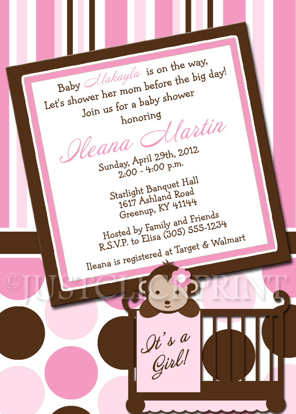 Mod Monkey Pink Brown Baby Shower Invitation Printable Just Click