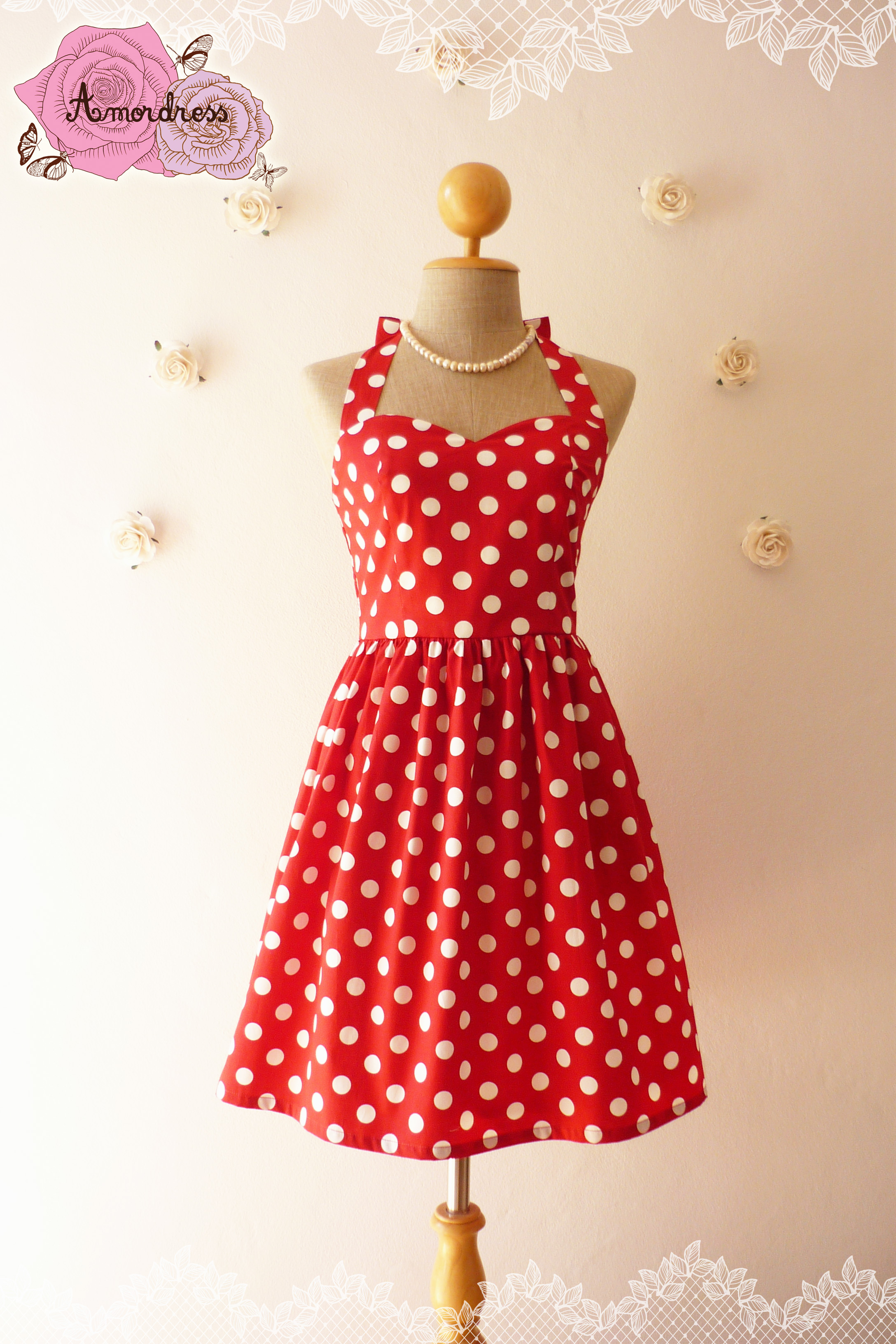 2b0e7dac3dc4 Red Summer Dress Red Party Dress Polka Dot Dress Vintage Inspired ...