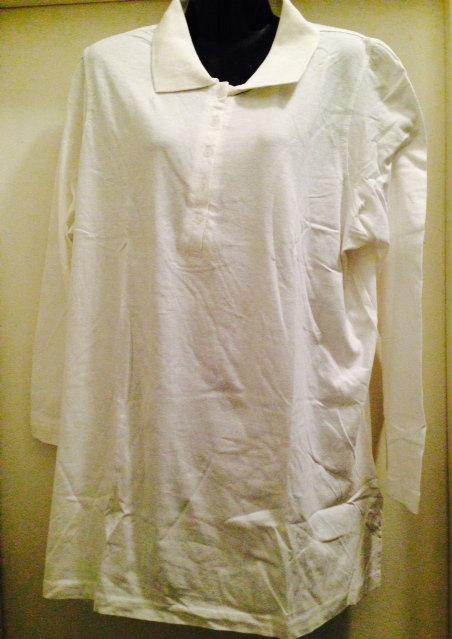 dc32d30fd3c White long sleeve polo shirt ~ plus size 1x