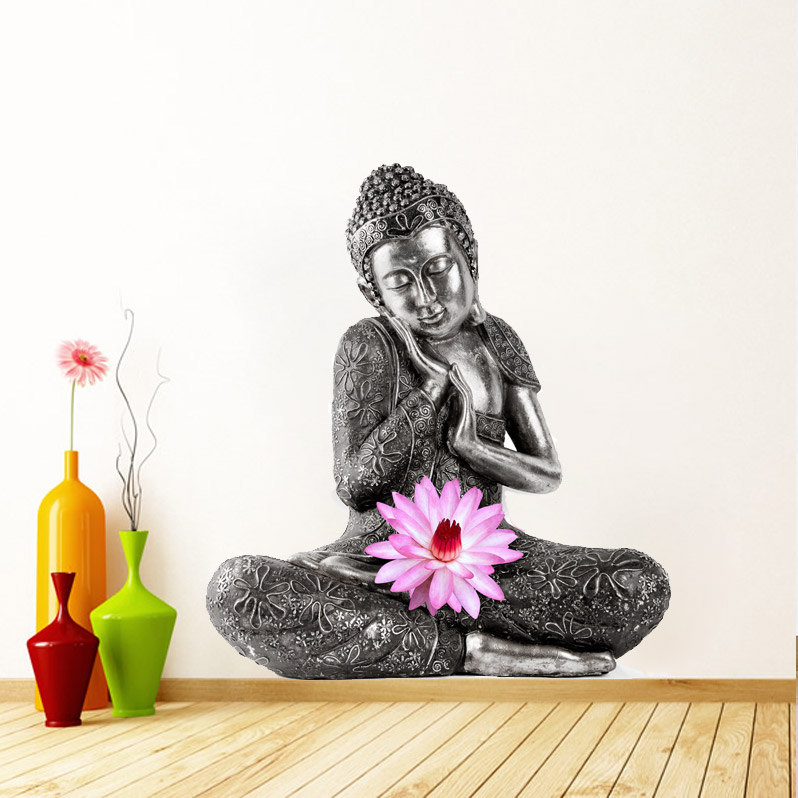 Buddha Meditating With Lotus Flower Decor Wall Print Sticker On Storenvy
