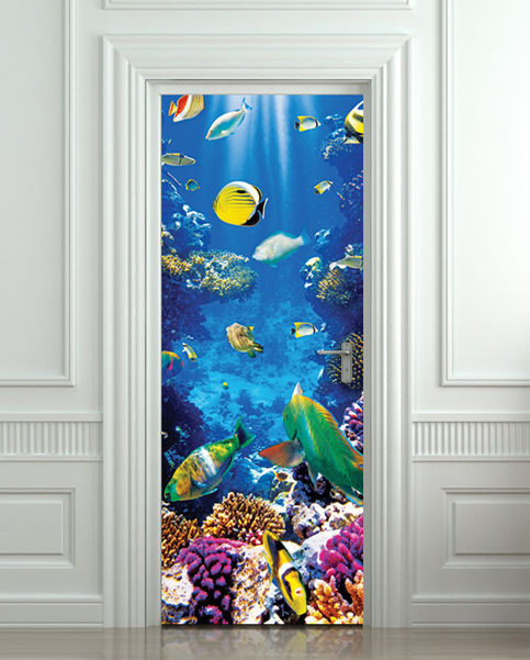 Wall Door Sticker Aquarium Fish Sea World Mural Decole