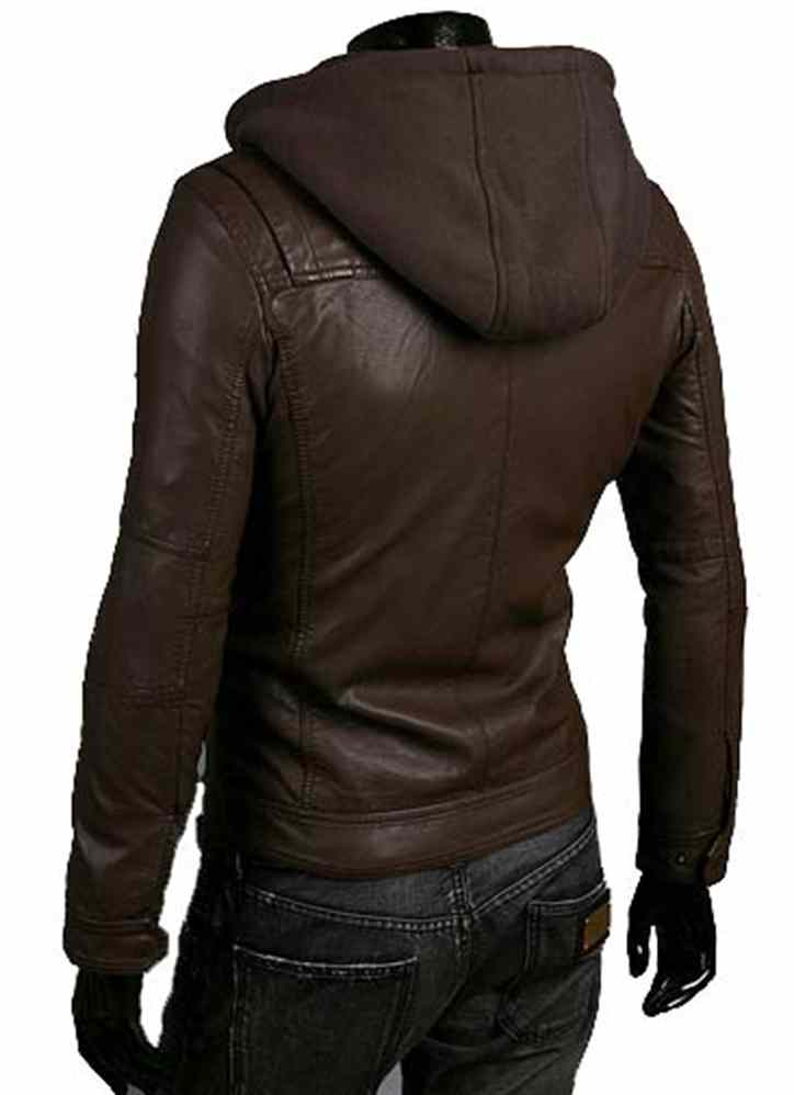 f36929b4 Men leather jacket, men brown fabric hooded leather jacket from Rangoli  Collection