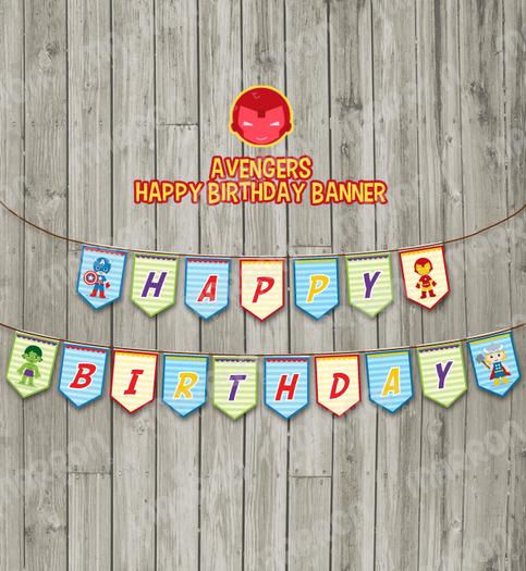 Avengers Superhero Inspired Happy Birthday Party Banner