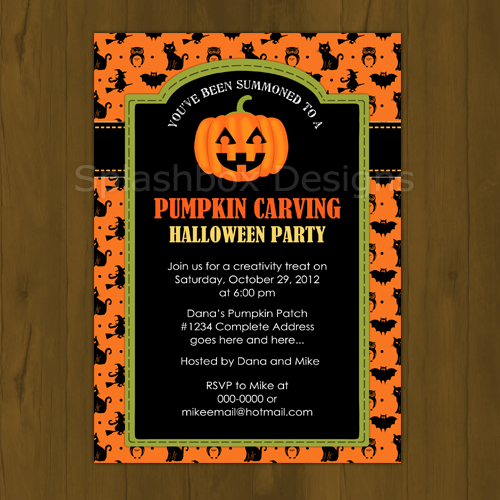 pumpkin halloween invitation splashbox printables online store