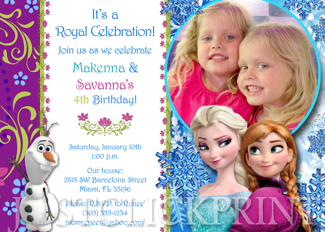 picture regarding Frozen Invitations Printable known as Frozen Anna Elsa Birthday Photograph Invitation Printable towards Accurately Click on Print