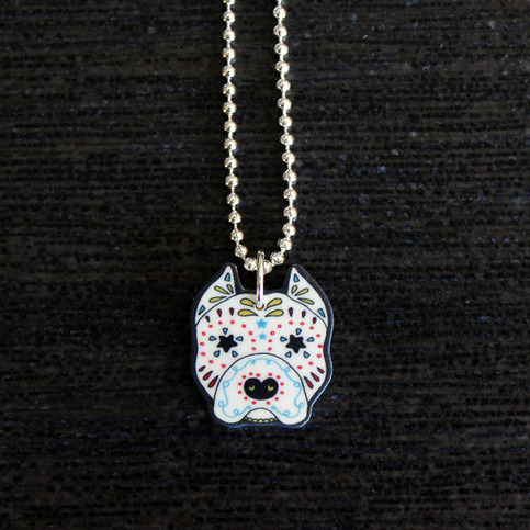 pitbull jewelry sugar skull pit bull necklace 6 on storenvy 8330