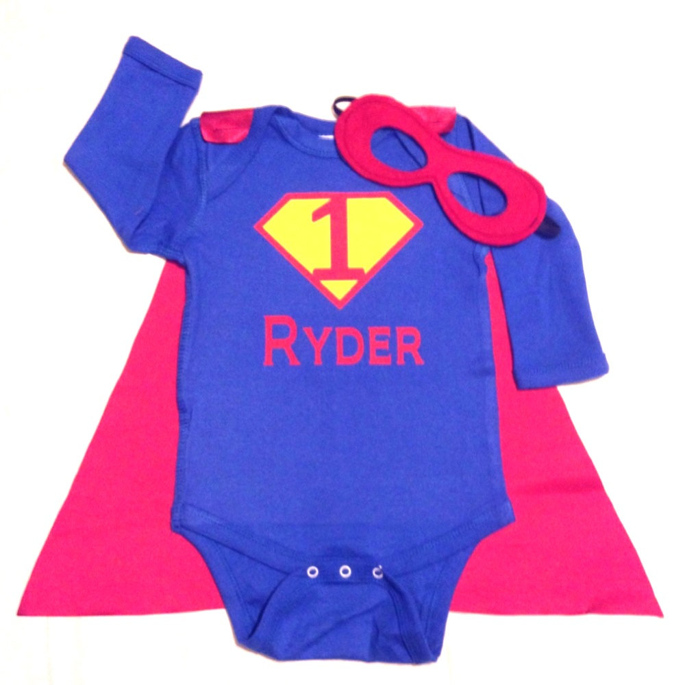 First Birthday Personalized Superhero Baby Outfit Custom With Cape And Mask