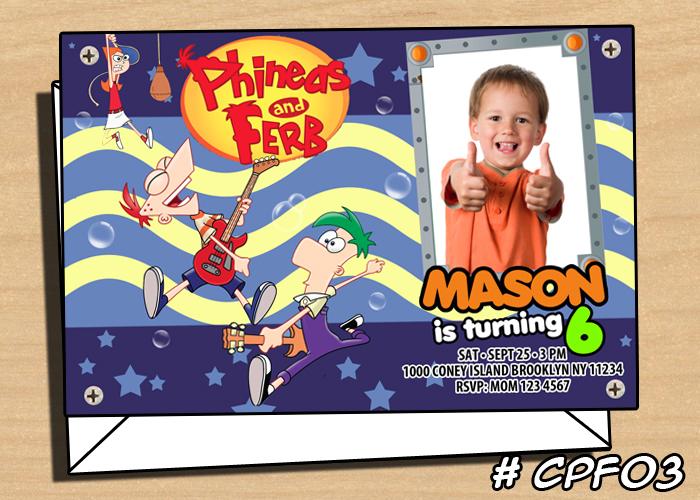 Phineas and Ferb Invitation Disney Birthday Invite on Storenvy – Phineas and Ferb Birthday Card