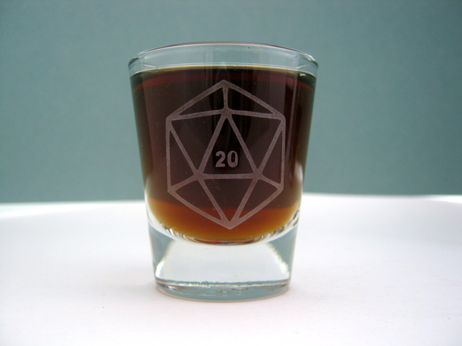 D20 Gamer Dice Single Sandblast Etched Shot Glass On Storenvy