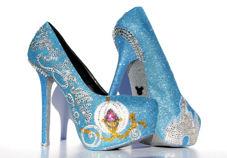 cinderella heels with swarovski crystals on baby blue