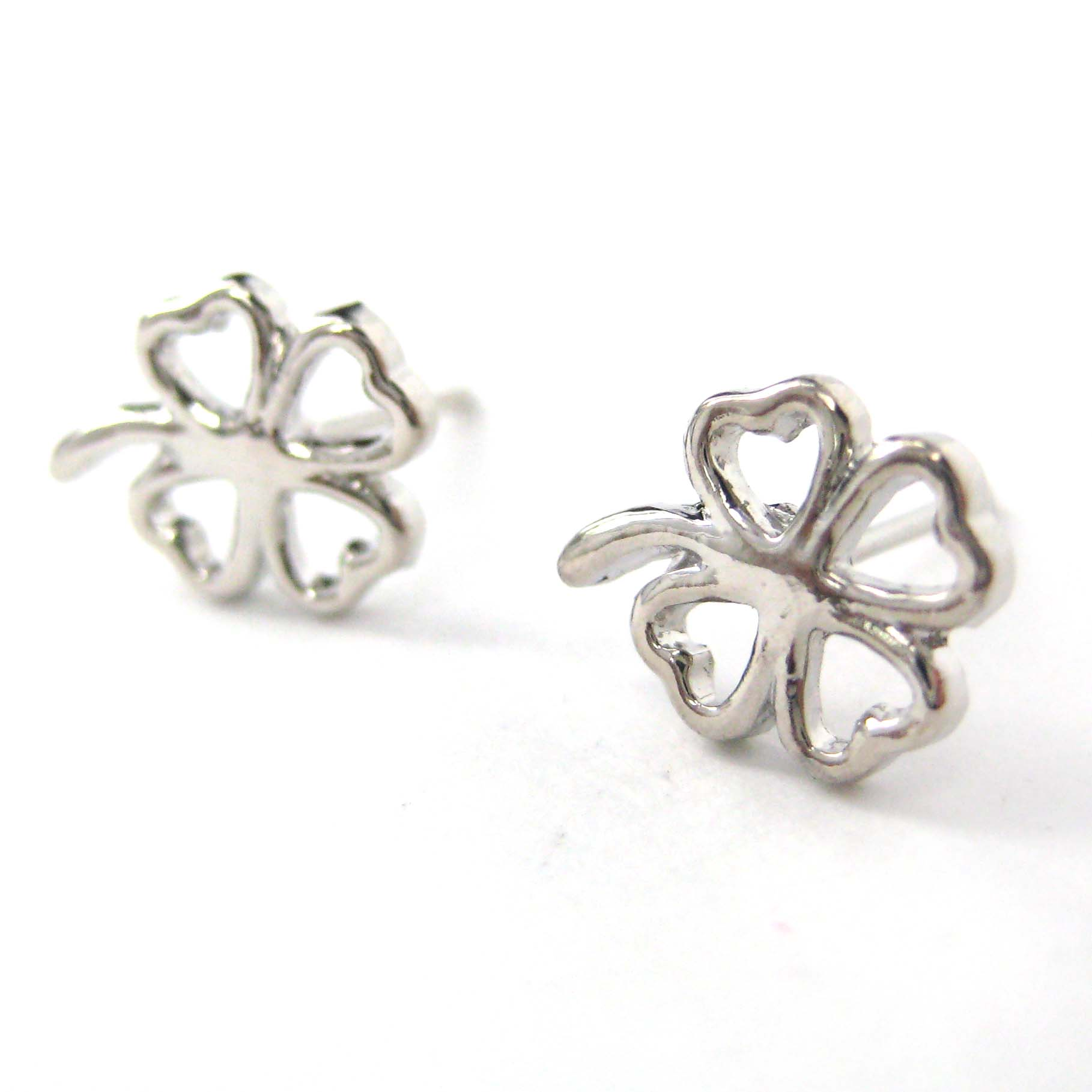 clover earrings studs four leaf clover floral cut out stud earrings in silver 9643