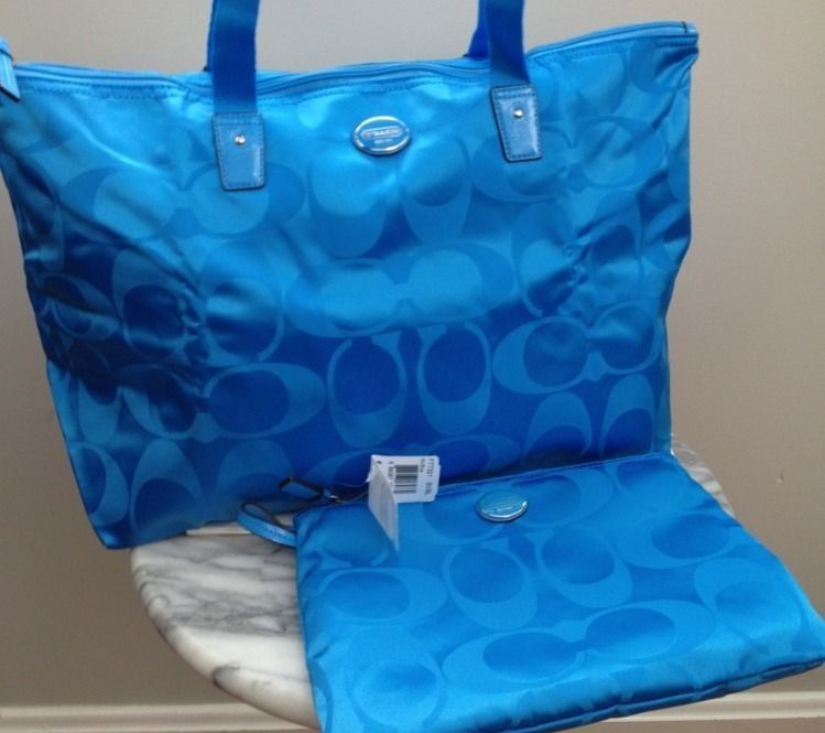 21ff72d130ae COACH SIGNATURE WEEKENDER TOTE SET--BRIGHT BLUE · Little Shop of ...