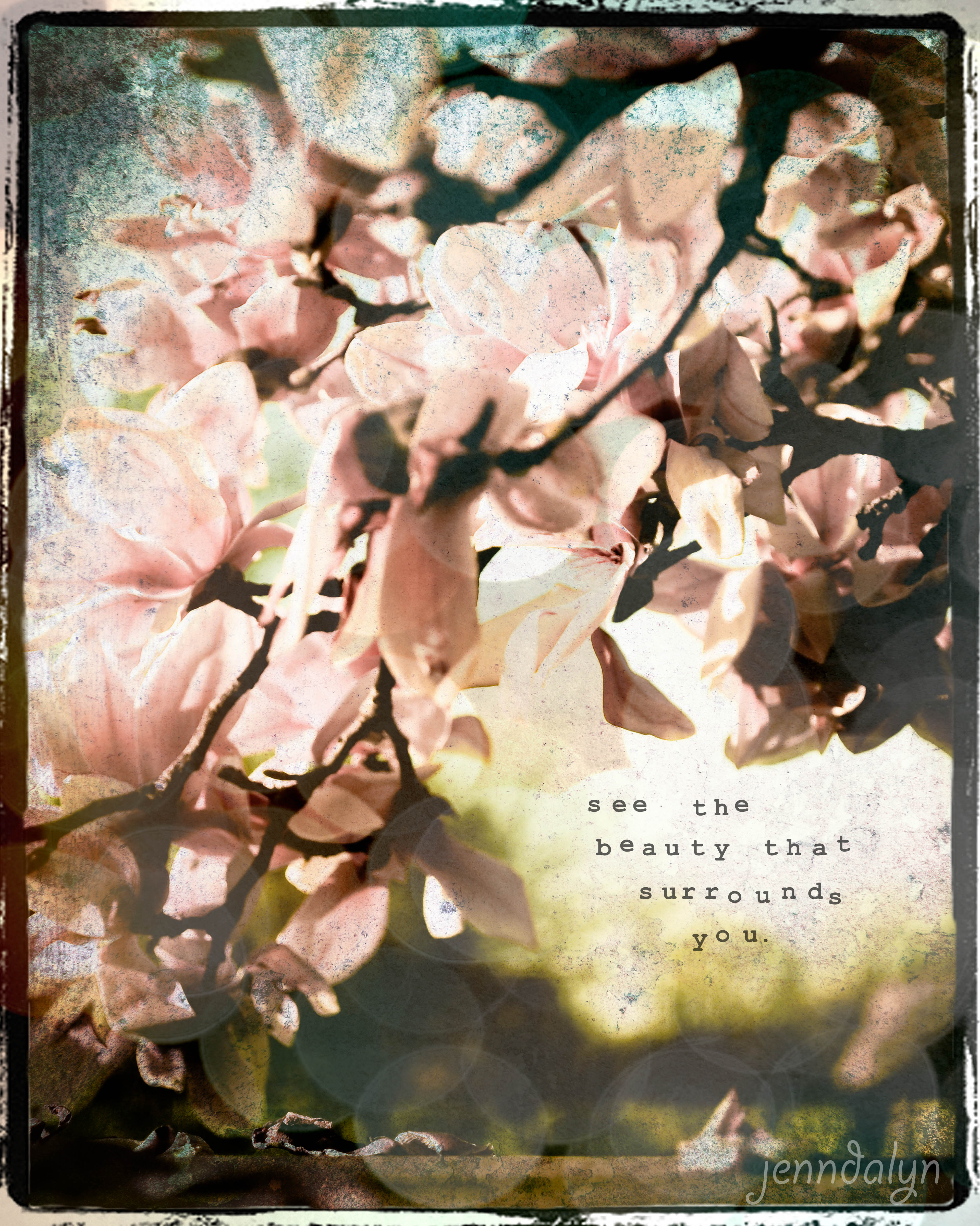Surrounded 8 X 10 Fine Art Photograph Magnolia Tree Photography Inspirational Quote Spring Landscape Romantic Home Decor Pink Wall Art Jenndalyn Art Online Store Powered By Storenvy