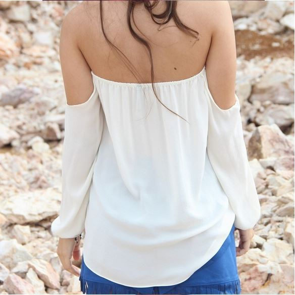 0ab2a257ee3a53 Sexy 20off 20shoulder 20strapless 20 20chiffon 20shirts 20top 20blouse2  small