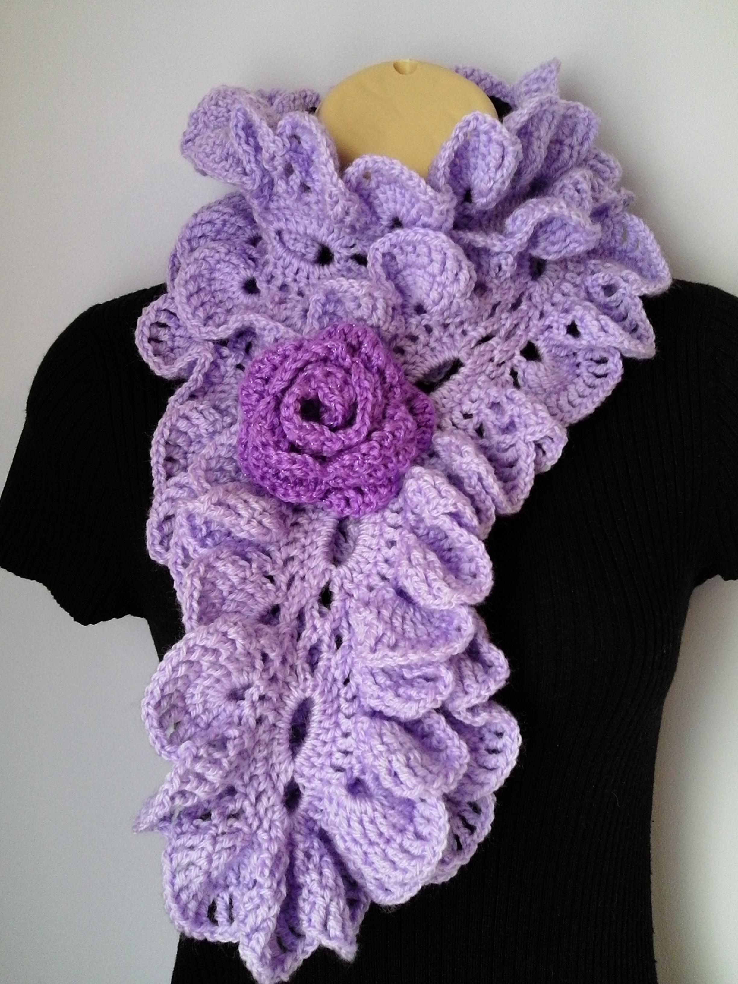 Crochet Scarf With Flower Brooch Neckwarmer Ruffle