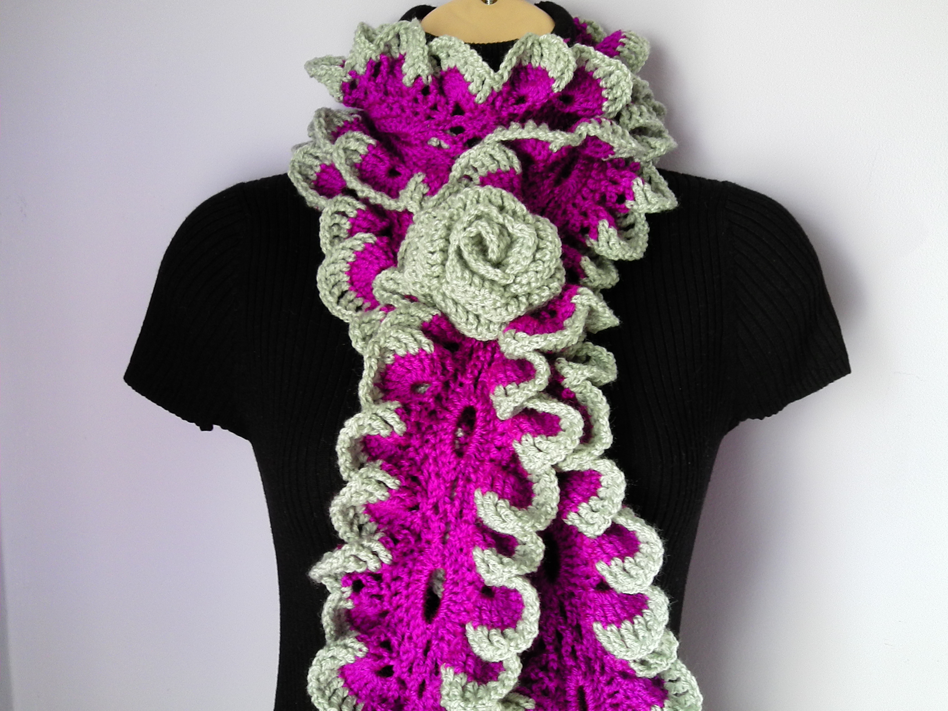 Tatjanaboutique Crochet Scarf With Flower Brooch Neckwarmer