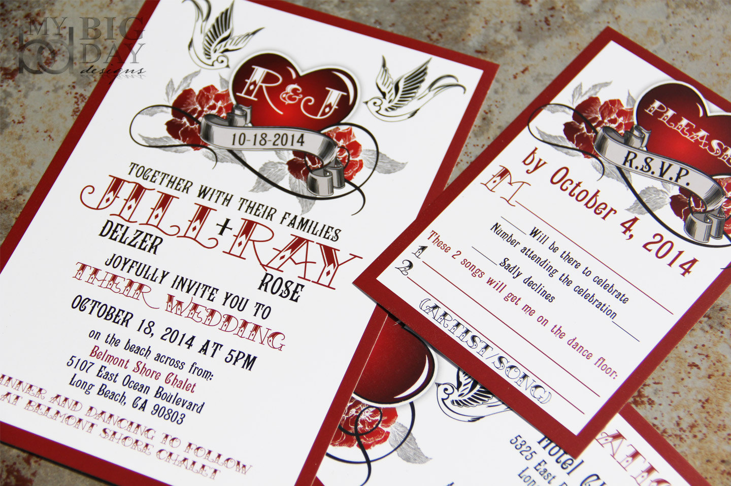 Rockabilly Wedding Invitation Set on Storenvy