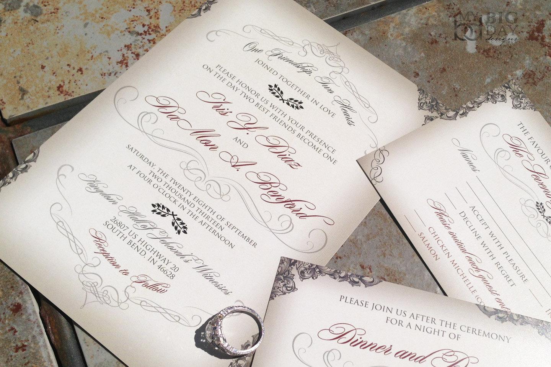 Elegant Victorian Filigree And Flourish Wedding Invitation Set On