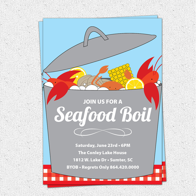 Seafood Boil Clam Lobster Crab Bake Invitation Summer Birthday BYOB SET OF 10 From OhCreativeOne LLC