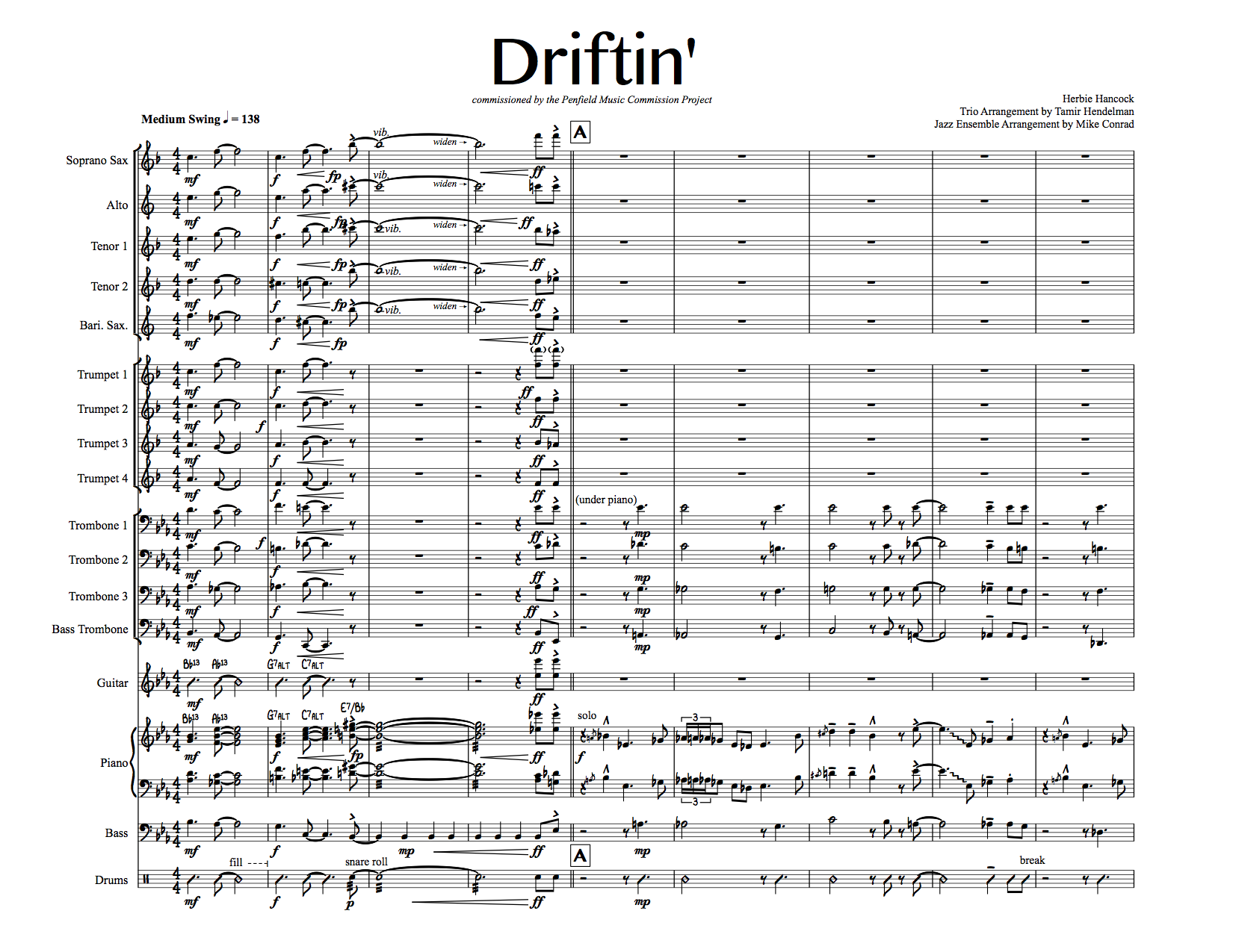 Driftin' - big band arrangement from mconrad music | store