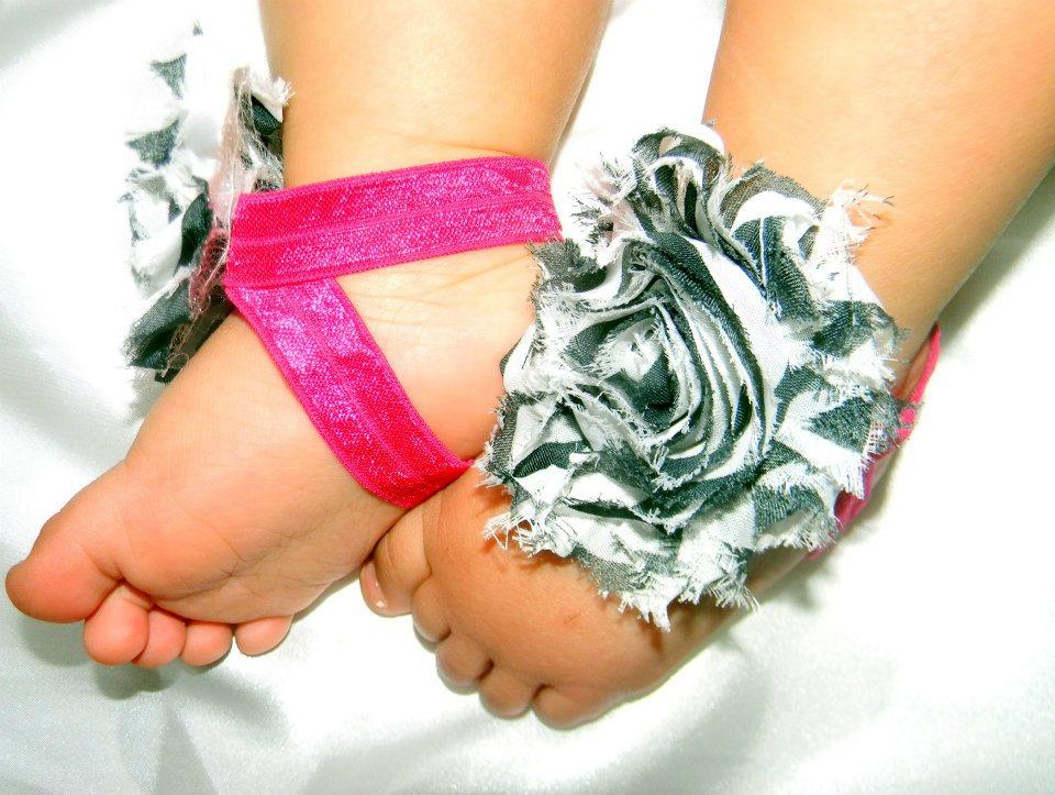 129cdb869043d Zebra & Hot Pink Barefoot Sandals · CDHeadbands · Online Store ...