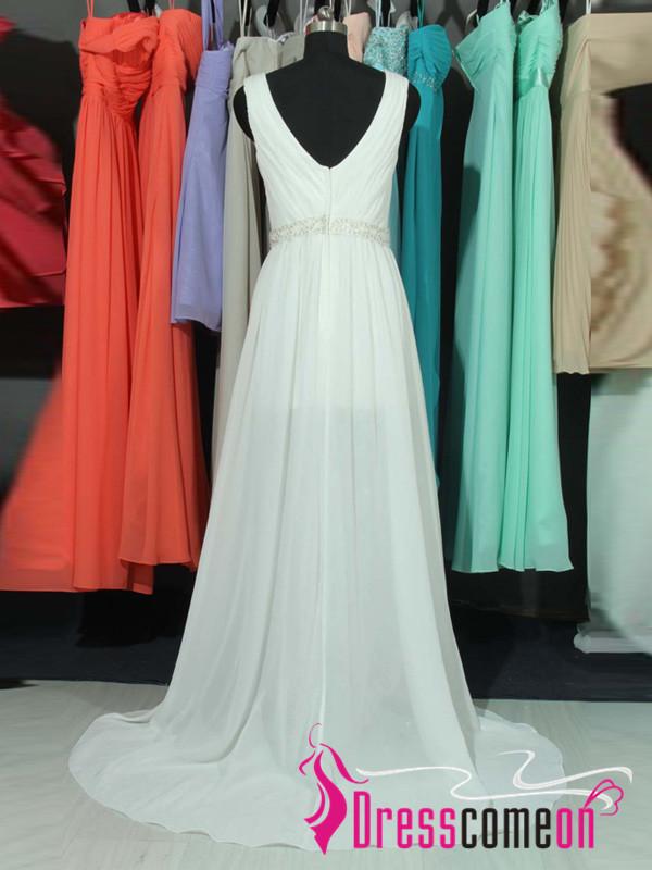custom made a line v neck backless slit wedding dresses beach