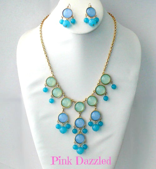 f2a9f0f96 Blue Ombre Bubble Necklace and Earring Set · PINK DAZZLED · Online ...