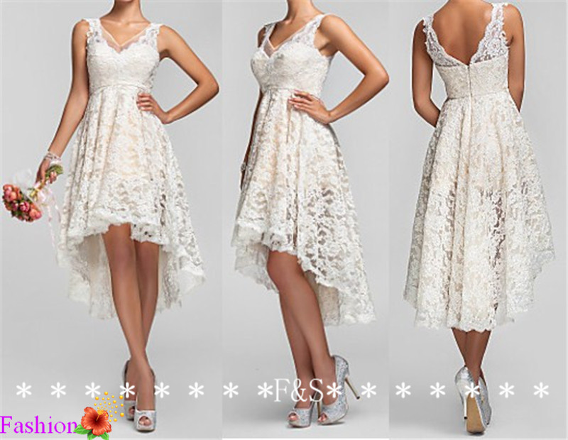 1643c78f0e4 High Low Ivory Lace Bridesmaid Dress
