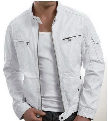 Mens Leather Jacket, White Leather Jacket Men on Storenvy